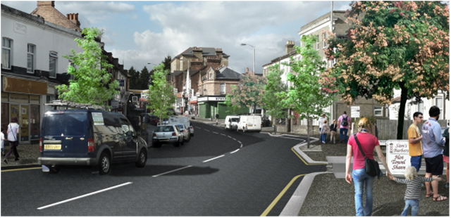 Artist's impression of regenerated Portland Road
