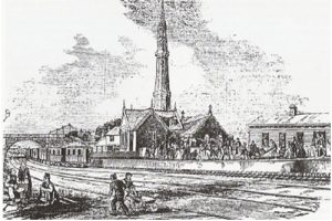 The Jolly Sailor station in 1845, showing the atmospheric railway pumping station, with its Gothic chimney vent.
